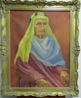 Antique Framed Oil Painting of Arabian Sheik