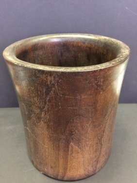 Antique Carved Wooden Brush Pot