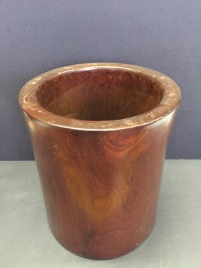 Antique Nicely Carved Wooden Brush Pot