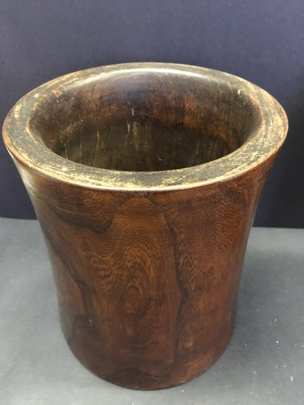 Antique Carved Two Huanghuali Wood Brush Pot - 3