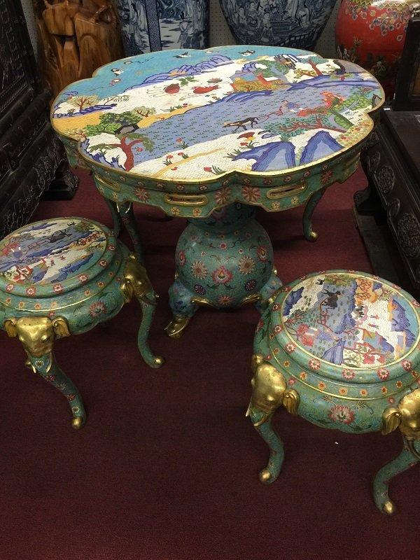 Luxurious Cloisonne Table With Elephants Shape Stool