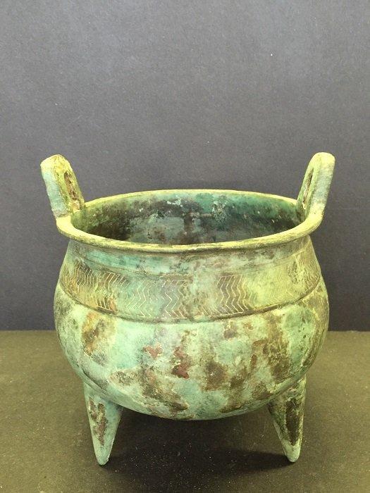 Archaic Bronze Tripod Two Hands Censer