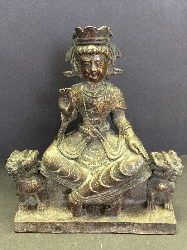 Antique Bronze Tibetan Buddha Seated On Bench