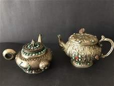 Antique Tibetan Silver Tea Pot Inlaid Gem Stone