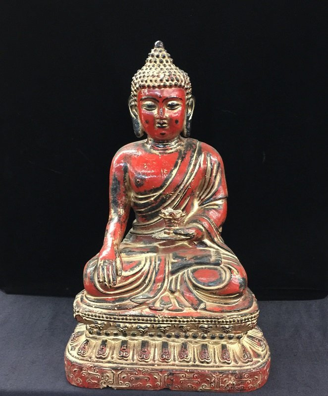 Antique Nicely Carved Iron Casting Buddha