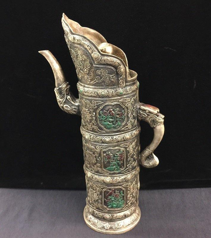 Antique Carved Bronze Tibetan Lidded Tea Pot