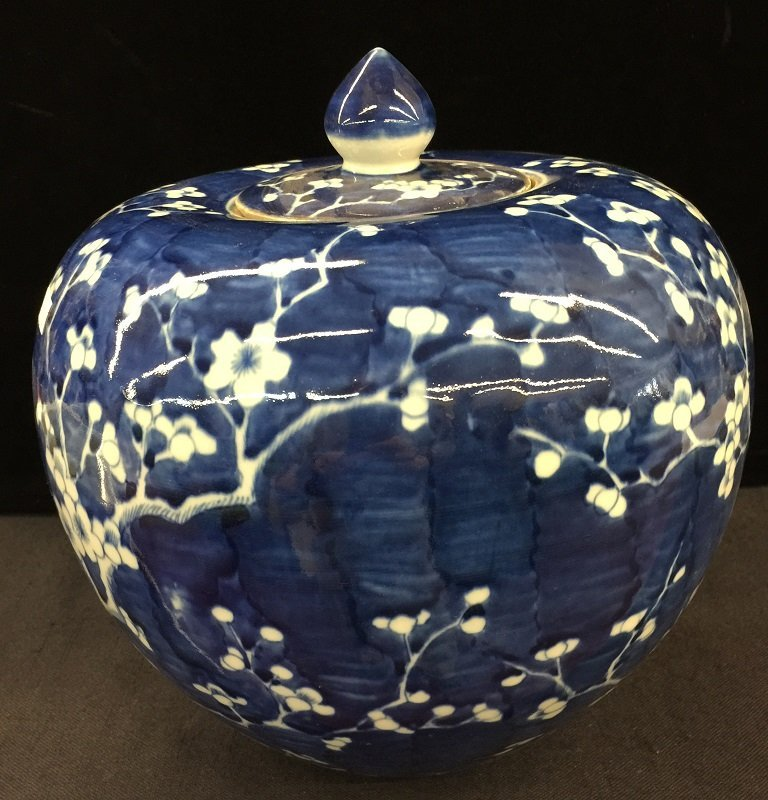 Chinese Blue And White Lidded Porcelain Jar