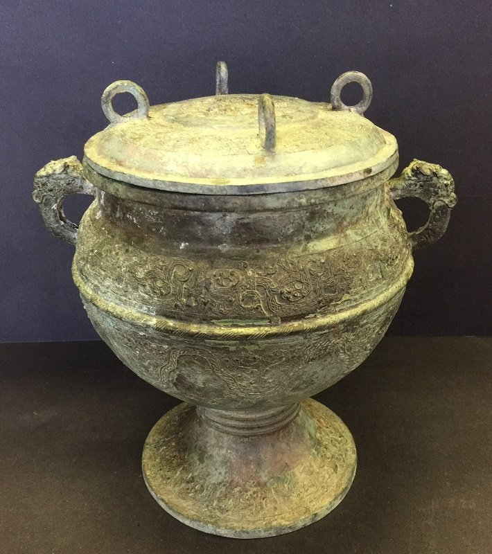 Archaic Bronze Lidded Footed Vessel