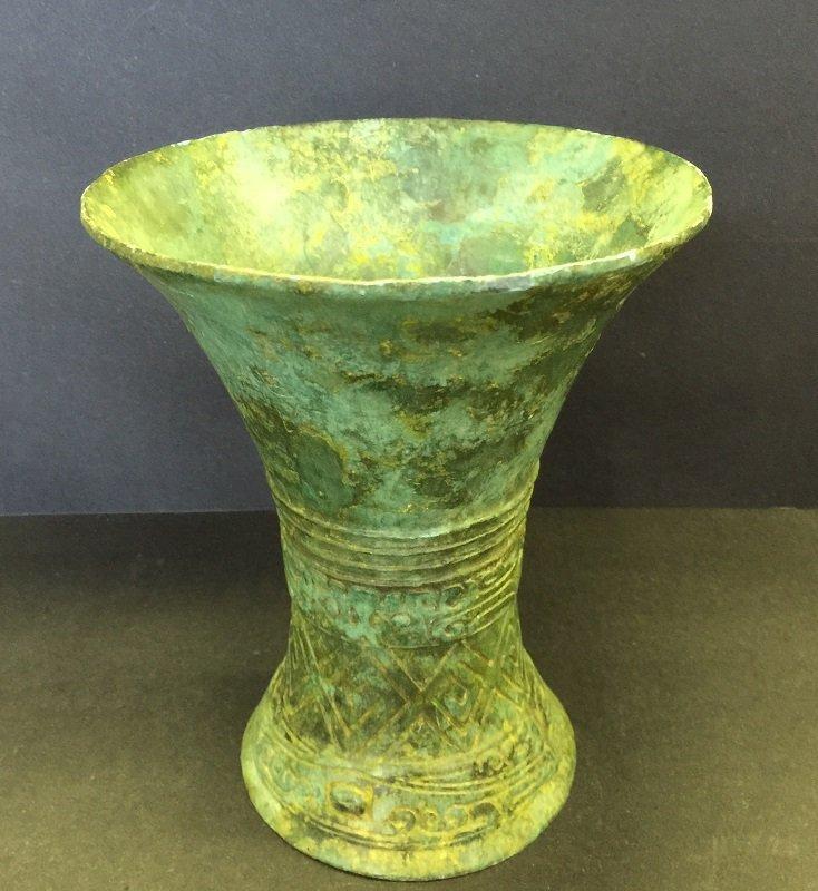 "Antique Nicely Carved Bronze ""Jue"" Vase"