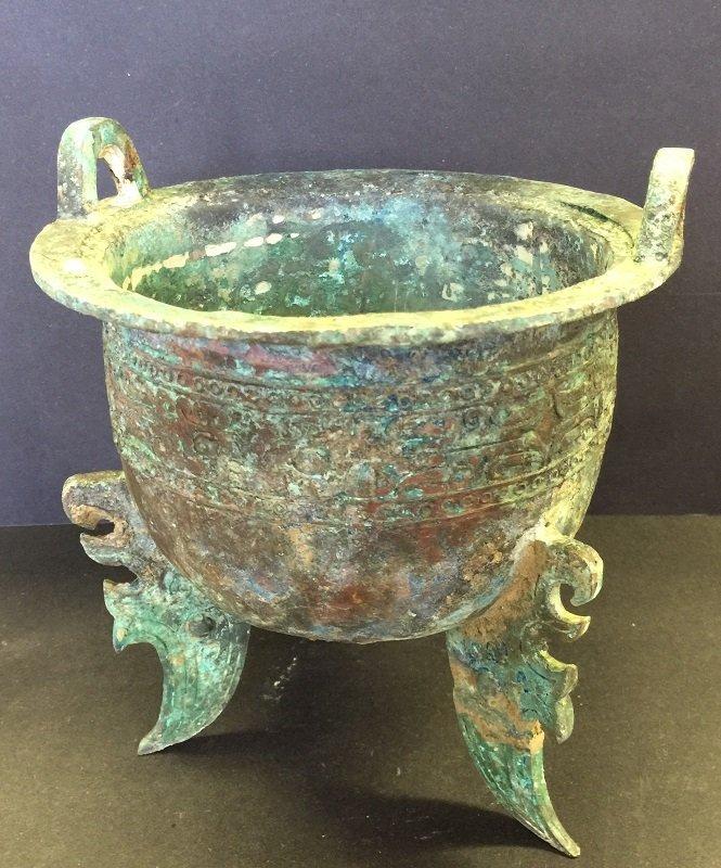 Antique Carved Bronze Tripod Vessel