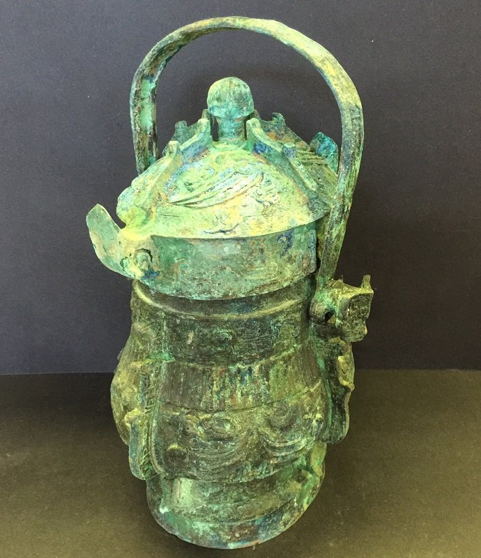 Archaic Carved Bronze Lidded Pot With Handle