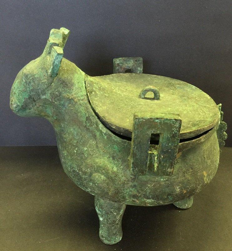 Antique Ox Shape Bronze Tripod Lidded Vessel