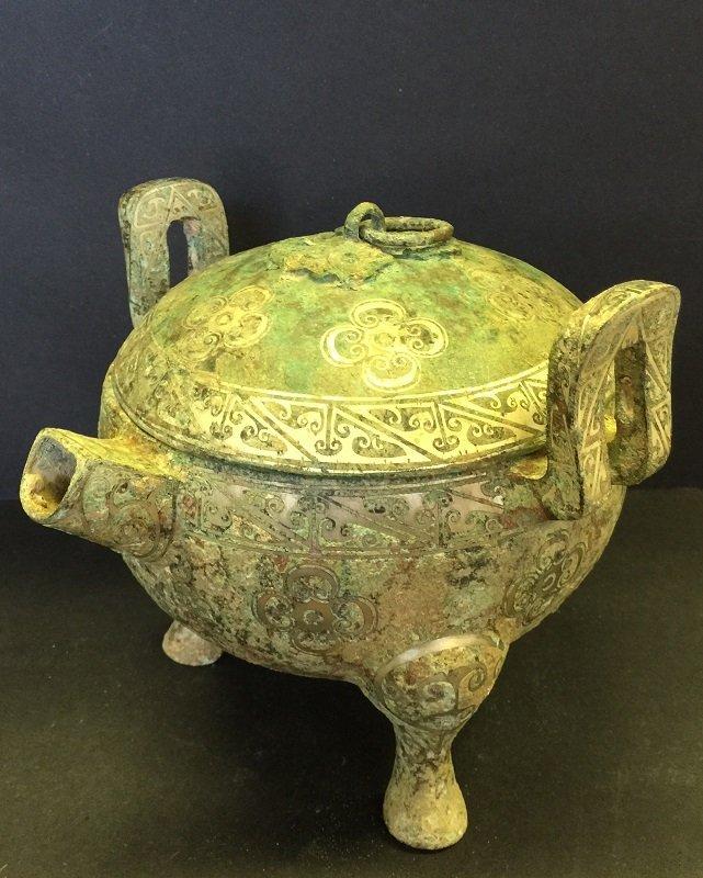 Antique Carved Bronze Lidded Tripod Outlet Pot