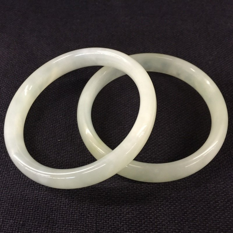 Two Nicely Carved White Jade Bangles