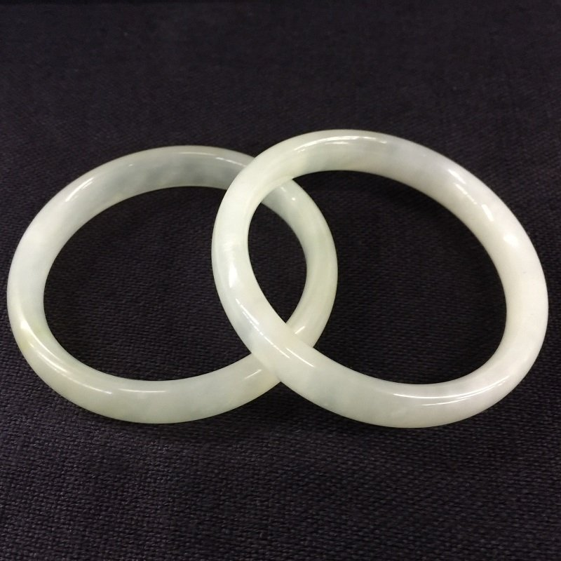 Two Nicely Carved White Jade Bangles - 2