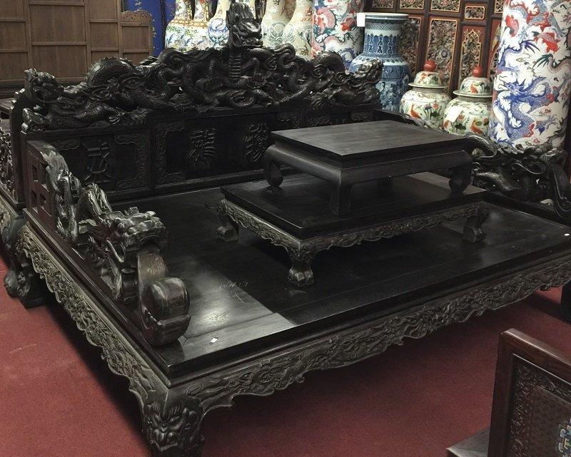 Antique Heitan Wooden Dragon Opium Bed