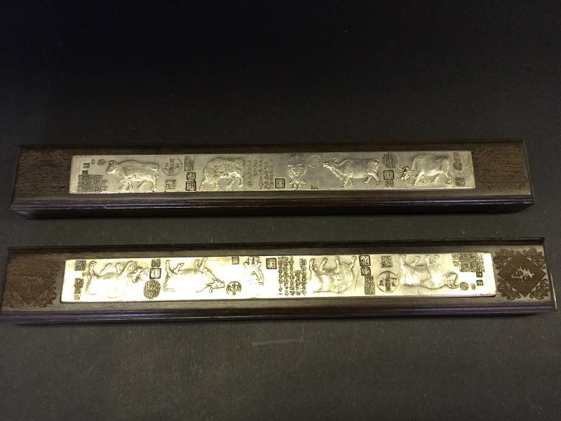Antique Pair Of Wood Paper Weights Inlaid Silver Panel