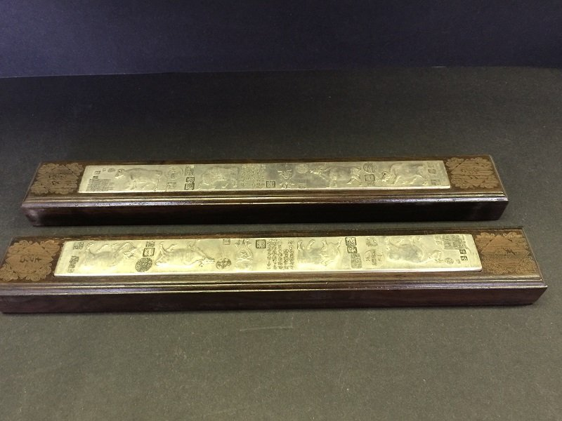 Antique Pair Of Wood Paper Weights Inlaid Silver Panel - 2