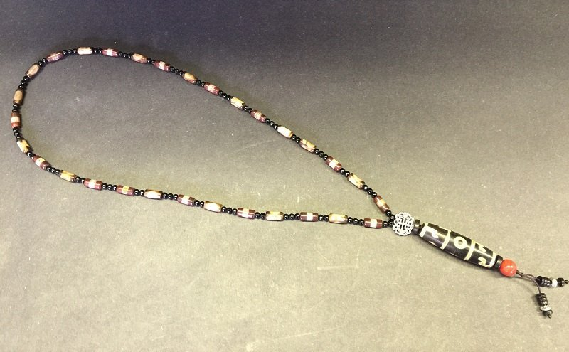 Antique 3 Eyes Tibetan Dzi Pendant Necklace