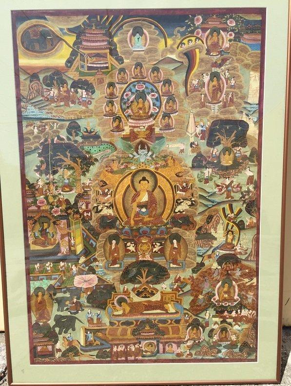 Antique framed Fine Tibetan Thangka