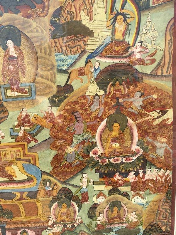 Antique framed Fine Tibetan Thangka - 3