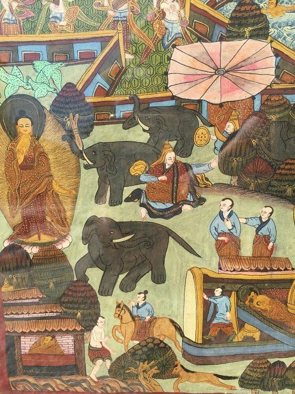 Antique framed Fine Tibetan Thangka - 4