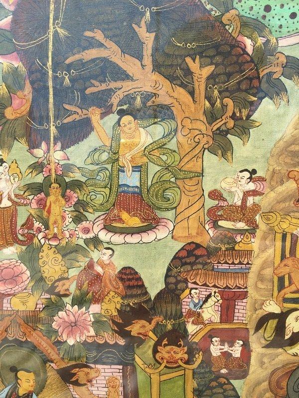 Antique framed Fine Tibetan Thangka - 5
