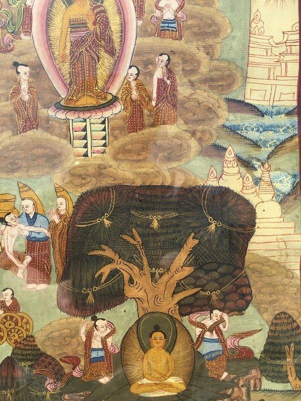 Antique framed Fine Tibetan Thangka - 7