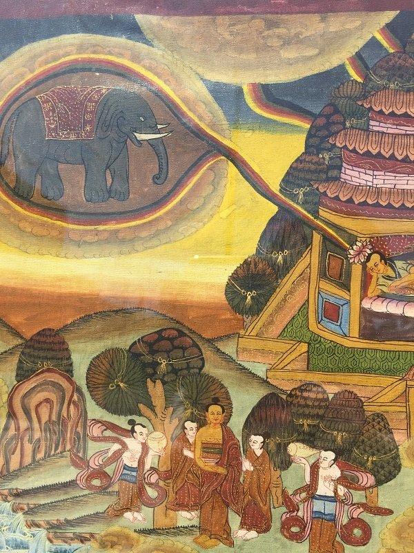 Antique framed Fine Tibetan Thangka - 9