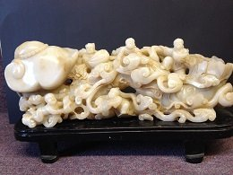 Qing Giant Ruyi White Jade with finely Carving