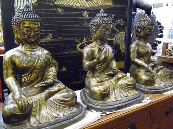 Ming Dynasty 3 Bronze Buddha on Series of Posture