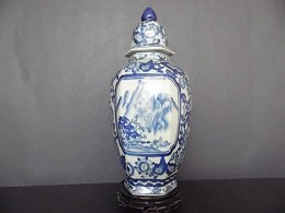 Qing Blue and White Hexagonal Vase with Lid