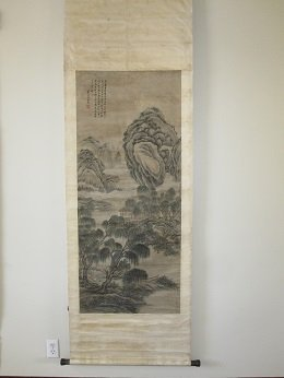 Chinese Scroll of Ink Painting on Silk