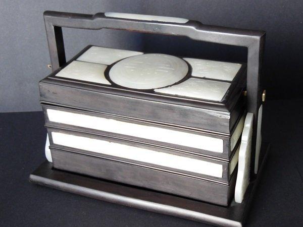 Late Qing Zitan Box Inlaid With White Jades