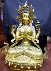 Gilt Bronze Vintage Tibetian Avalokitesvara