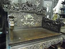 Qing Rosewood Dragon Chair Inlaid Jade Dragon