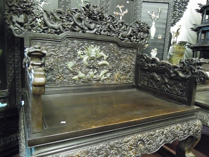 Qing Rosewood Dragon Chair Inlaid Jade Dragon