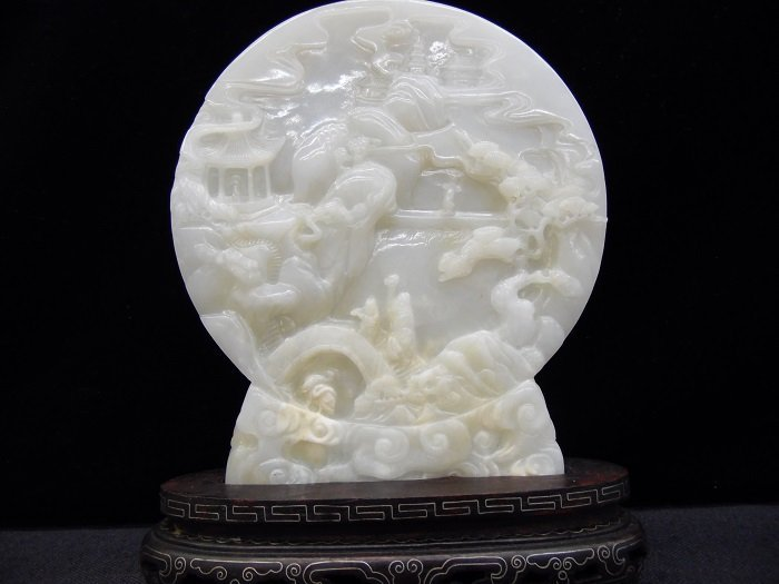 Qing Landscape Hetian Jade Inlaid With Base