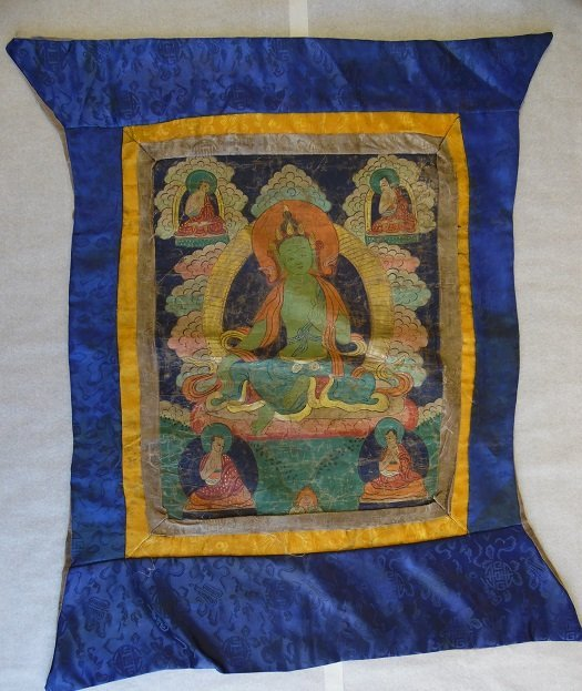 An Old Tibetan Thangka With Budhha Srounded By