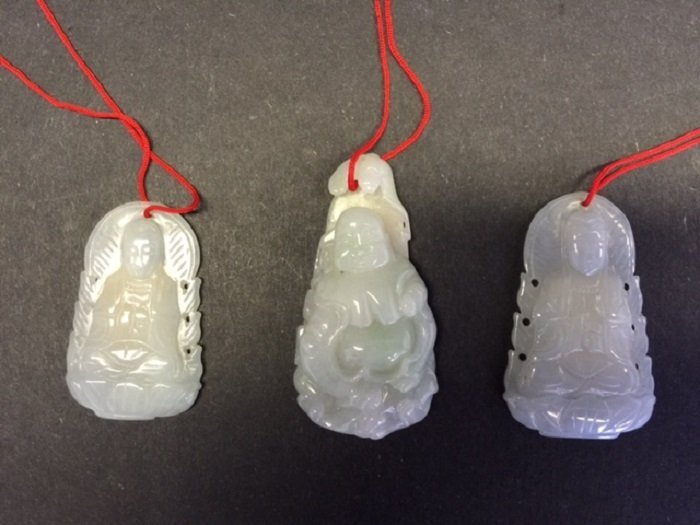 Three Finely Carved Jade Pendants Buddha and Guan Yin