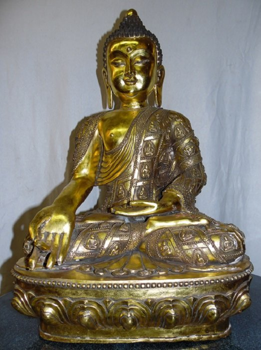 Finely Carved Bronze Gilt Buddha With Qing Mark