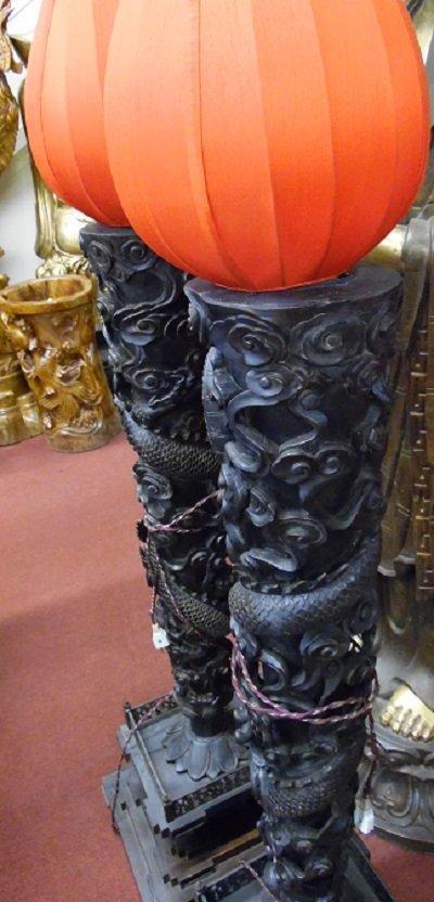 Pair Of  Vintage Carved Camphorwood Dragon Lamps