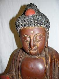 19th C. Wood Carved Budhha With Praying