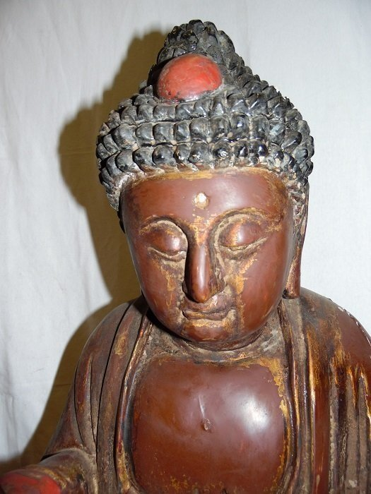 19th C. Wood Carved Budhha With Praying