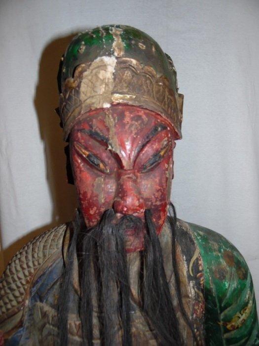 Qing Wood Carved Warrior Treasure Immortal