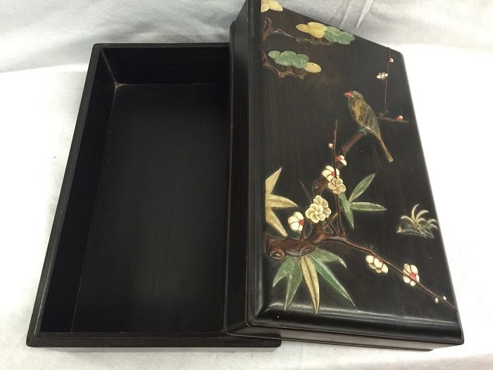 Qing Zitan Box Inlaid Jade's Flower and Bird