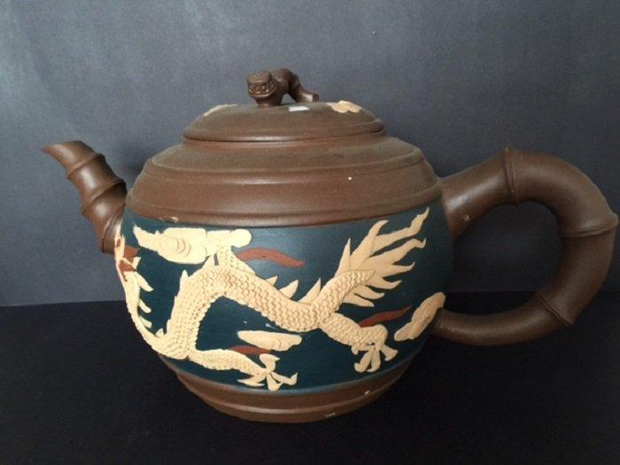 "Giant ""Dragon and Phoenix"" Zishao Tea Pot"
