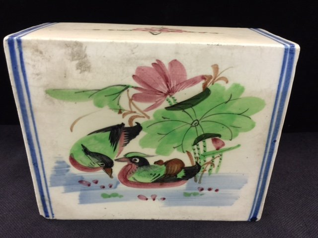 Antique Chinese Porcelain Pillow With Mandarin Duck