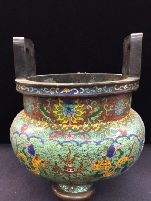 Qing Qianlong Mark Cloisonn Tripod Censer