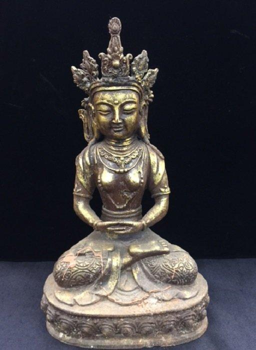 Antique Casting Iron Gilded Tibetan Buddha
